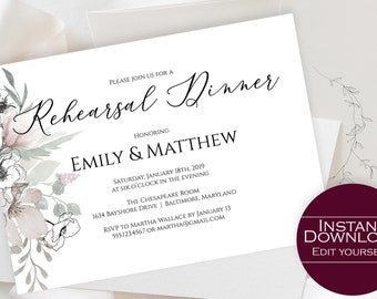 Rehearsal Dinner Invitation Template, Floral Wedding Rehearsal Invitation, Editable PDF Template, Instant Download, MSD325