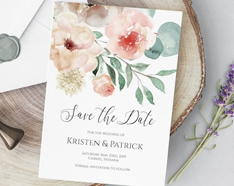 Save the Date Editable Invitation Template, Peach Floral DIY Wedding Announcement, MSD697