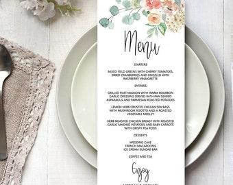 Wedding Menu Card Editable Template, Menu Card Printable Template, DIY Menu Card, MSD-697