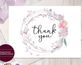 DIY Floral Thank You Card, Printable Thank You Card, Printable Thank You Note Card, Wedding Thank You Card, Isabelle Collection