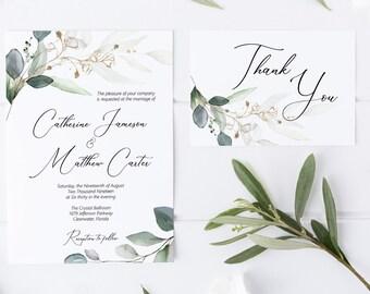 Greenery and Gold Leaf Wedding Invitation Template, Printable Wedding Invitation, MSD389