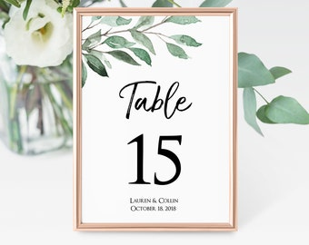 Greenery Table Number Template, Wedding Table Numbers, 4x6 Table Numbers, 5x7 Table Numbers, Printable Table Cards, MSD-215