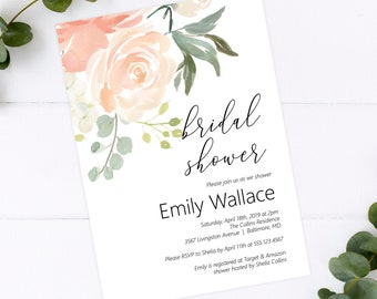 Peach Bridal Shower Printable Invitation Template, Editable DIY Bridal Shower Invitation Template, MSD301B
