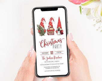 Electronic Christmas Invitation Template, Christmas Gnomes Digital Invitation, Holiday Party, Text SMS Evite, MSD-961CPI
