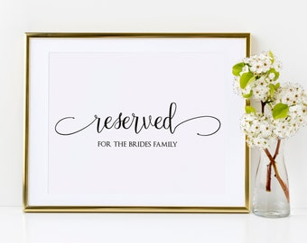 Reserved Wedding Ceremony Seating Sign, DIY Wedding Ceremony Reserved Seat Sign Printable Template, MSD-124