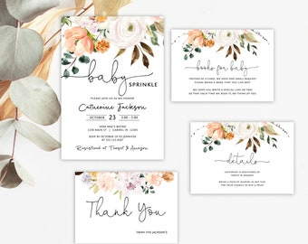 Floral Baby Sprinkle Invitation Set, Peach Baby Shower Bundle, Books for Baby,  Printable Invitation Template, Corjl Online Editor, MSD-658