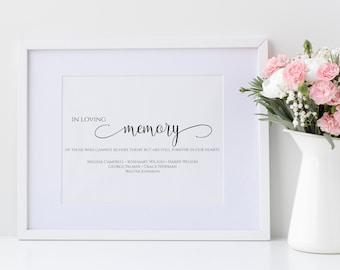 "Printable ""In Loving Memory"" Editable Sign, Editable In Loving Memory Template Sign, MSD-124"