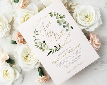 Greenery Save the Date Editable Invitation Template, DIY Wedding Announcement, MSD358