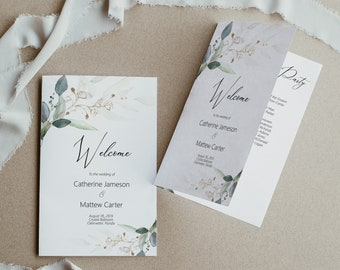 Greenery and Gold Leaf Wedding Program Booklet Template, Folded Order of Service Printable Wedding Program, DIY Wedding Program, MSD389