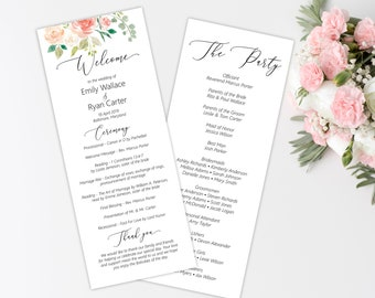 Peach Blush Floral Wedding Program Template, Order of Service Ceremony Printable Program, Wedding Printable, MSD301