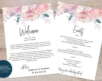 Wedding Welcome Card / Wedding Itinerary / Welcome Bag Card Template / Printable Itinerary / Isabelle Collection