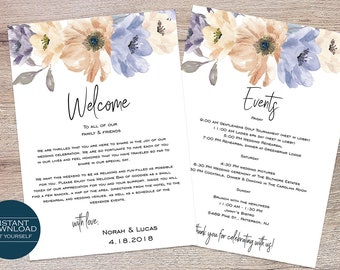Wedding Welcome Card / Wedding Itinerary / Welcome Bag Card Template / Printable Itinerary / Nora Collection