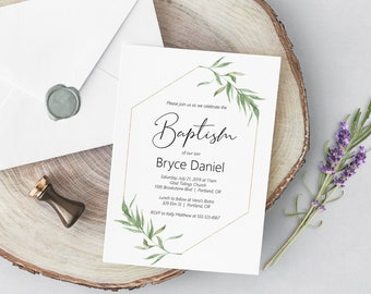 Greenery and Gold Baptism Invitation Template, Printable Baptism Invitation, BAP-105