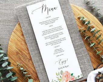 Peach Floral Menu Card Editable Template, Printable Wedding Menu, MSD301