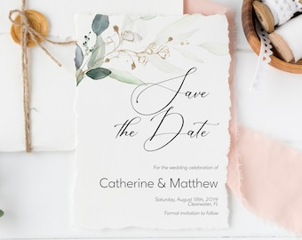 Save the Date Editable Invitation Template, Greenery & Gold Leaf DIY Wedding Announcement, MSD-389
