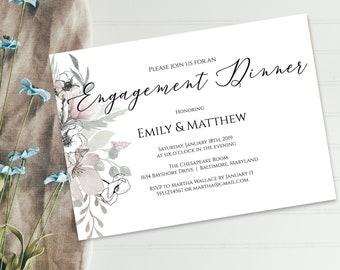 Floral Engagement Dinner Invitation PDF Template, Editable Template, Printable Invitation Template, MSD325