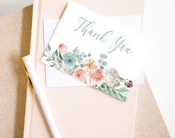 Floral Thank You Card, Baby Shower Note Card, Wedding Thank You Card, Bridal Shower Card, MSD697