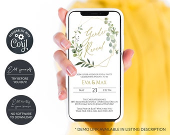 Rustic Greenery and Gold Electronic Baby Gender Reveal Invitation, Digital Gender Reveal Announcement, Smartphone Invitation, MSD358