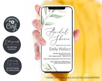 Greenery Electronic Bridal Shower Invitation, Digital Bridal Shower Announcement, Smartphone Invitation, MSD375