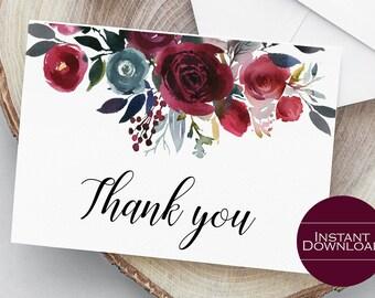 Thank You Card Printable, Floral Thank You Card, DIY Thank You Card, Wedding Thank You Card, Madeline Collection