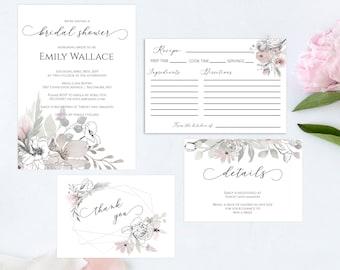Floral Bridal Shower Printable Invitation Set, Details Card, Recipe Card, Thank You Card, Editable PDF Template, MSD325