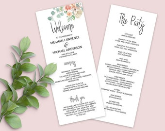 Wedding Program Template, DIY Wedding Program, Ceremony Program Template, Wedding Printable - MSD-697