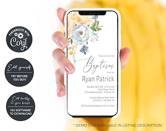 Peach and Blue Floral Electronic Baptism Invitation, Digital Baptism Announcement, Smartphone Invitation, MSD439