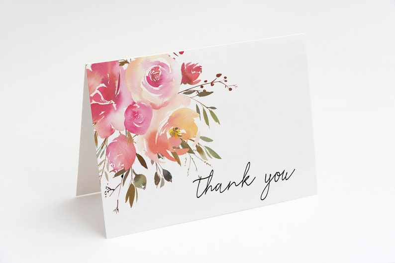 Thank You Note Card MDS337 Wedding Thank You Card Printable Thank You Card Floral Thank You Card Printable