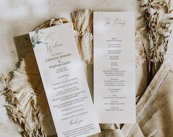 Greenery and Gold Leaf Wedding Program Template, Order of Service Ceremony Program, Wedding Printable, MSD389