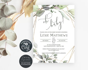 Greenery and Gold Oh Baby Shower Invitation, Editable Invitation Template, MSD389