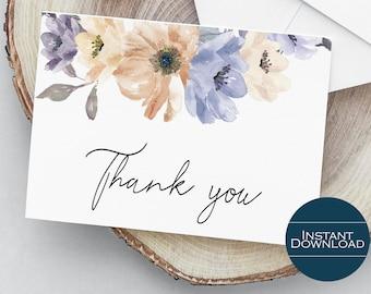 Floral Wedding Thank You Card, DIY Thank You Card, Printable Thank You Card, Shower Printable Thank You Card, Nora Collection