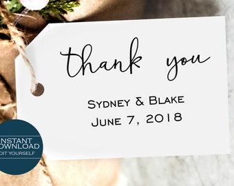 Thank You Favor Tag Template, Printable Wedding Favor Tag, Party Gift Tag, DIY Wedding Favor Tag, MSD164