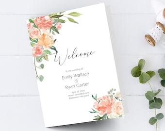 Printable Peach Floral Wedding Program Booklet Template, Folded Order of Service Printable Wedding Program, DIY Wedding Program, MSD301