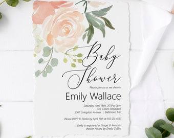 Peach Baby Shower Invitation, Editable Invitation Template, Printable Invitation, MSD301B