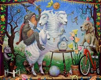 Enchantimals Toadimus Wortimus Riding Two-Headed Sheep Fine Art Print