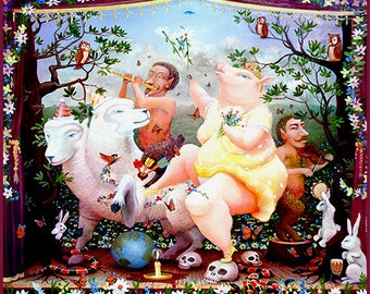 Enchantimals Fine Art Print: Nancy Throwing Flowers with Two-Headed Sheep while Pans Play Music