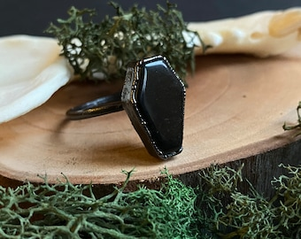 Black Obsidian Coffin Ring vampire jewelry Electroformed copper