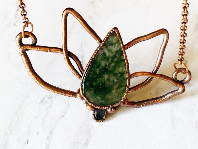 Lotus flower pendant moss agate labradorite stone yoga jewelry electroformed necklace