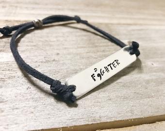 Custom bracelet Pewter and Suede