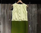 1950 39 s Sleeveless Chartreuse Olive Green Sheath Dress