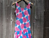 90 39 s Blue Pink Drop-Waist Hydrangea Dress