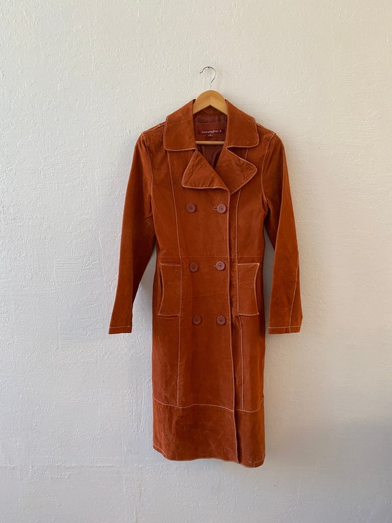 Vintage Papaya Suede Leather Trench