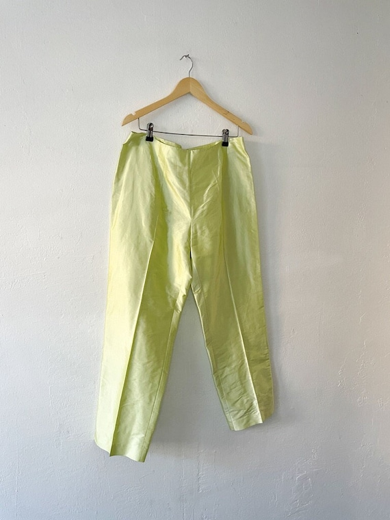 Vintage 90s Neon Green Silk Trousers - image 1