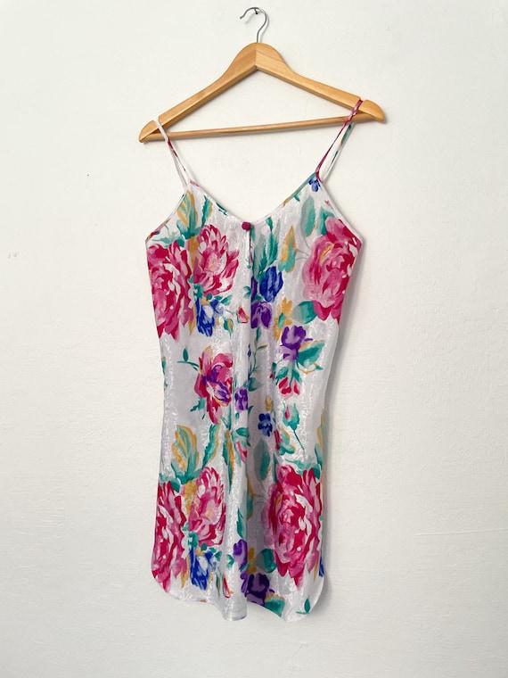 Vintage 90s Floral Print Slip Dress - image 3