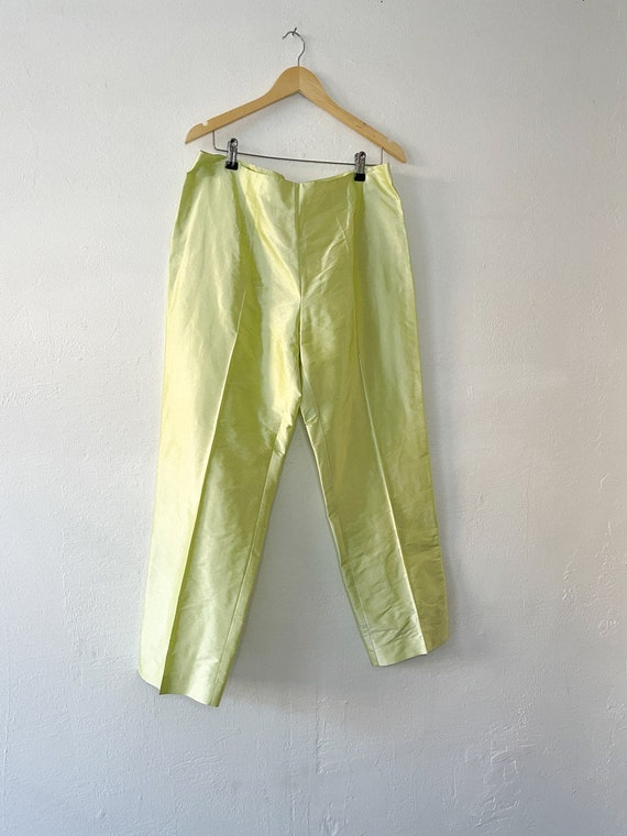 Vintage 90s Neon Green Silk Trousers - image 3