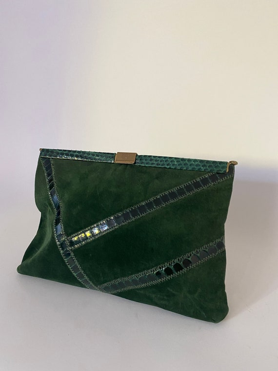 Vintage 80s Forest Green Suede Rectangle Clutch