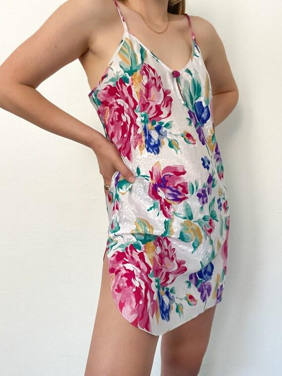 Vintage 90s Floral Print Slip Dress - image 1