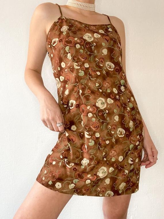 90s Brown Floral Slip Dress