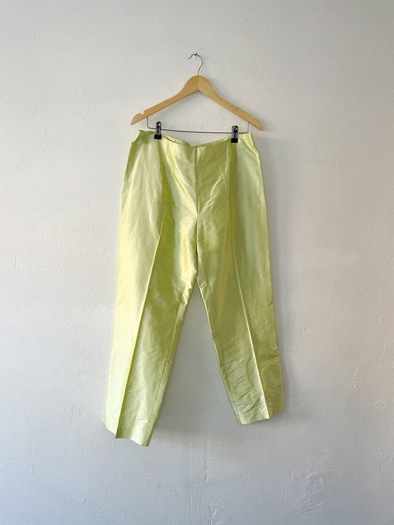 Vintage 90s Neon Green Silk Trousers - image 4