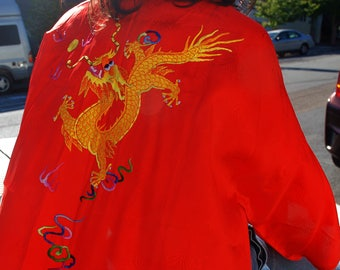 Vintage 70s Red Chinese Kimono Robe with Dragon Embroidery, Golden Bee, Small
